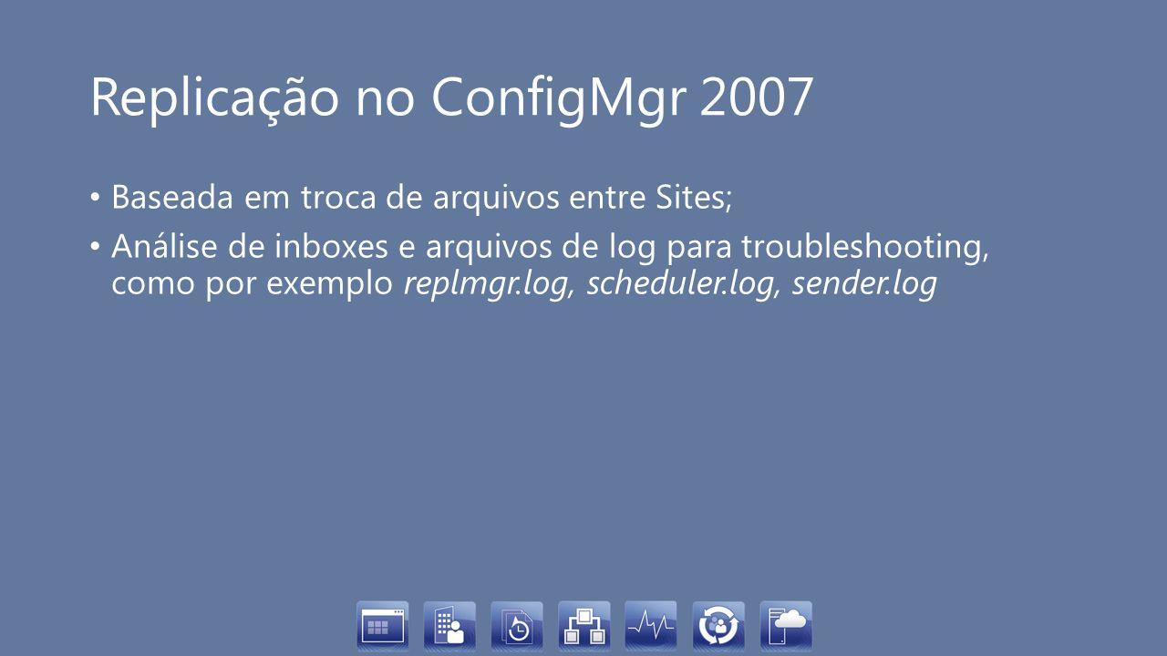 Replicação no ConfigMgr 2007 Baseada em troca de arquivos entre Sites; Análise de inboxes e arquivos de log para troubleshooting, como por exemplo rep