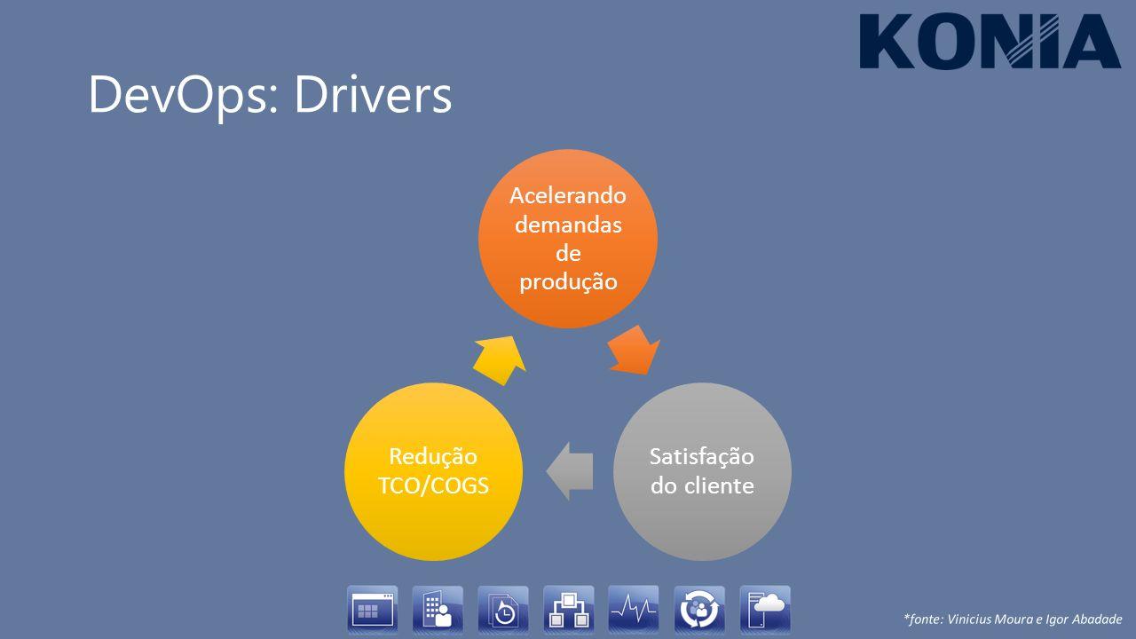 DevOps: Drivers Acelerando demandas de produção Satisfação do cliente Redução TCO/COGS *fonte: Vinicius Moura e Igor Abadade