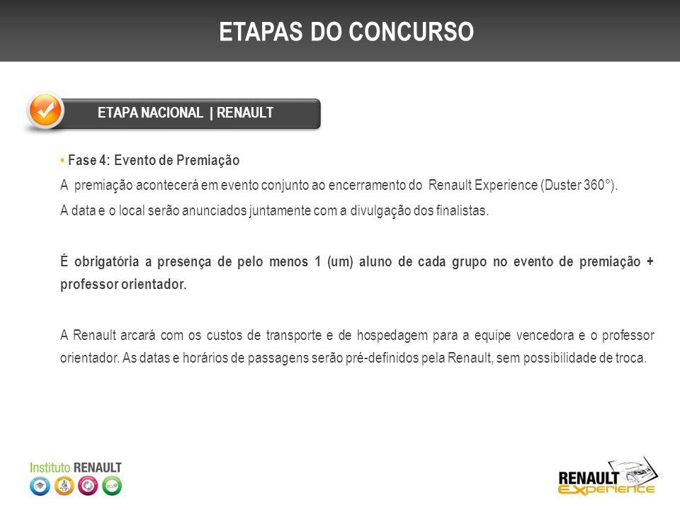 Fase 4: Evento de Premiação A premiação acontecerá em evento conjunto ao encerramento do Renault Experience (Duster 360°). A data e o local serão anun