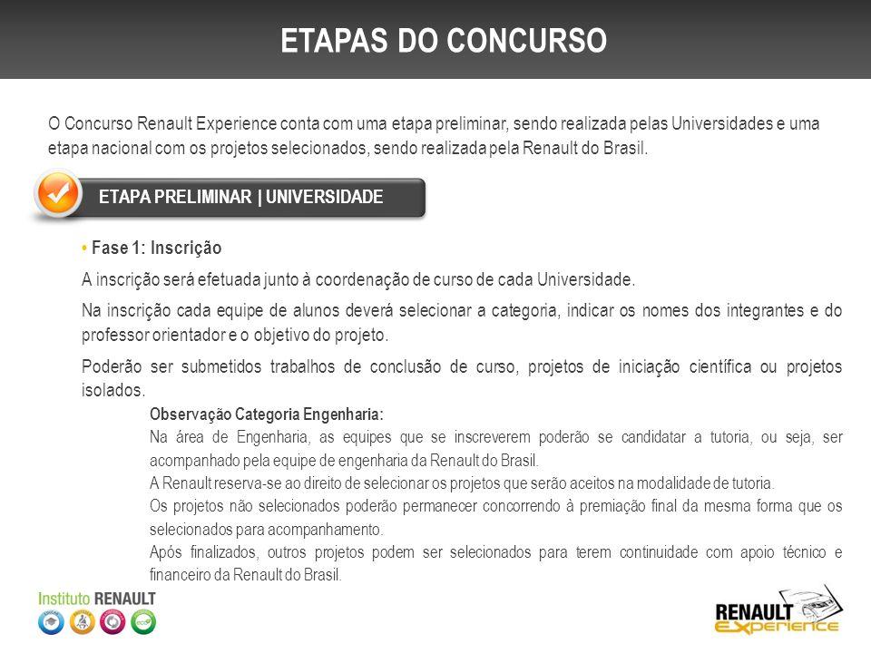 O Concurso Renault Experience conta com uma etapa preliminar, sendo realizada pelas Universidades e uma etapa nacional com os projetos selecionados, s