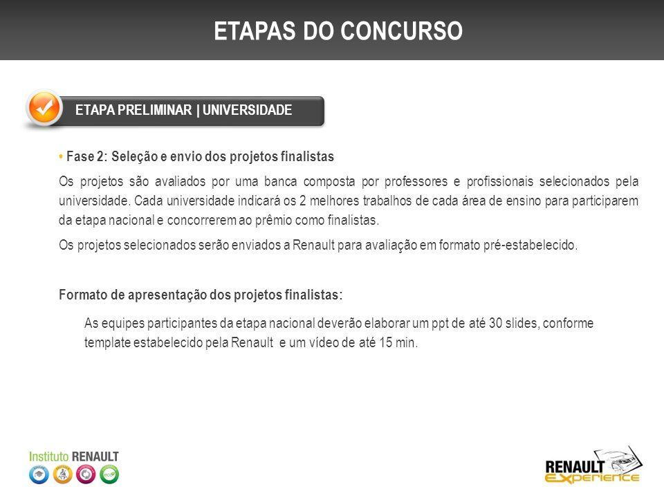 Fase 3: Seleção dos projetos finalistas A comissão julgadora da Renault analisará os projetos das universidades participantes e selecionará os 03 primeiros colocados de cada área.