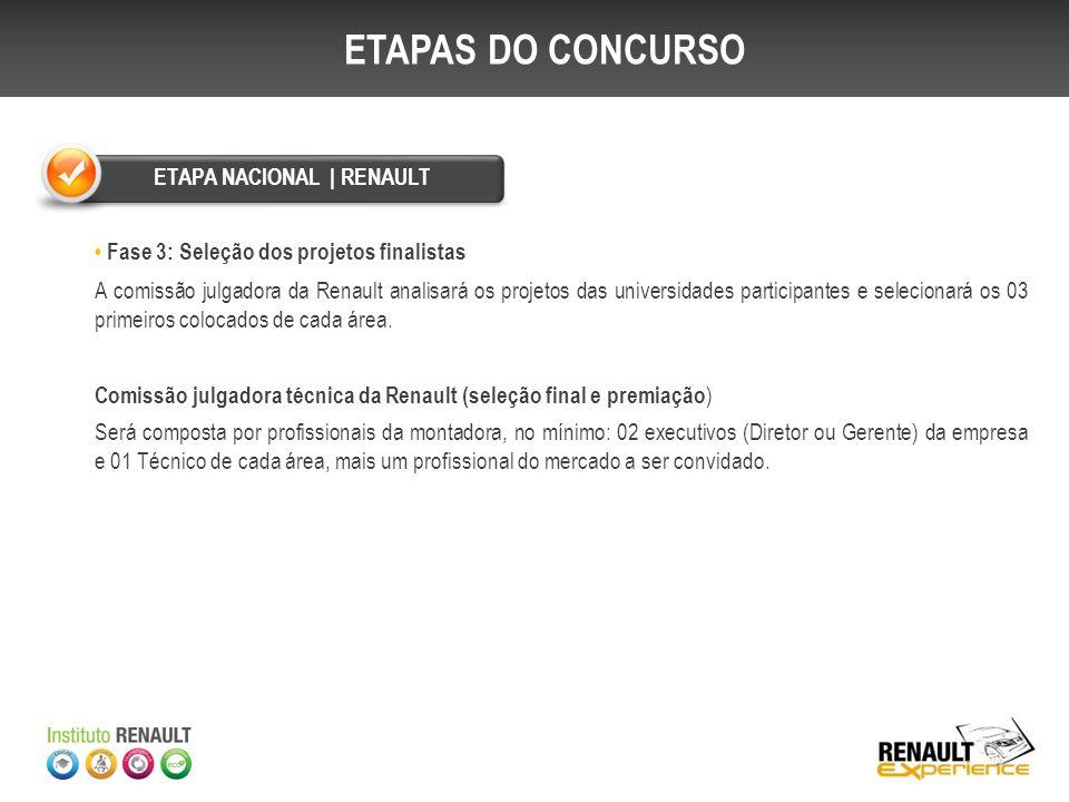 Fase 3: Seleção dos projetos finalistas A comissão julgadora da Renault analisará os projetos das universidades participantes e selecionará os 03 prim