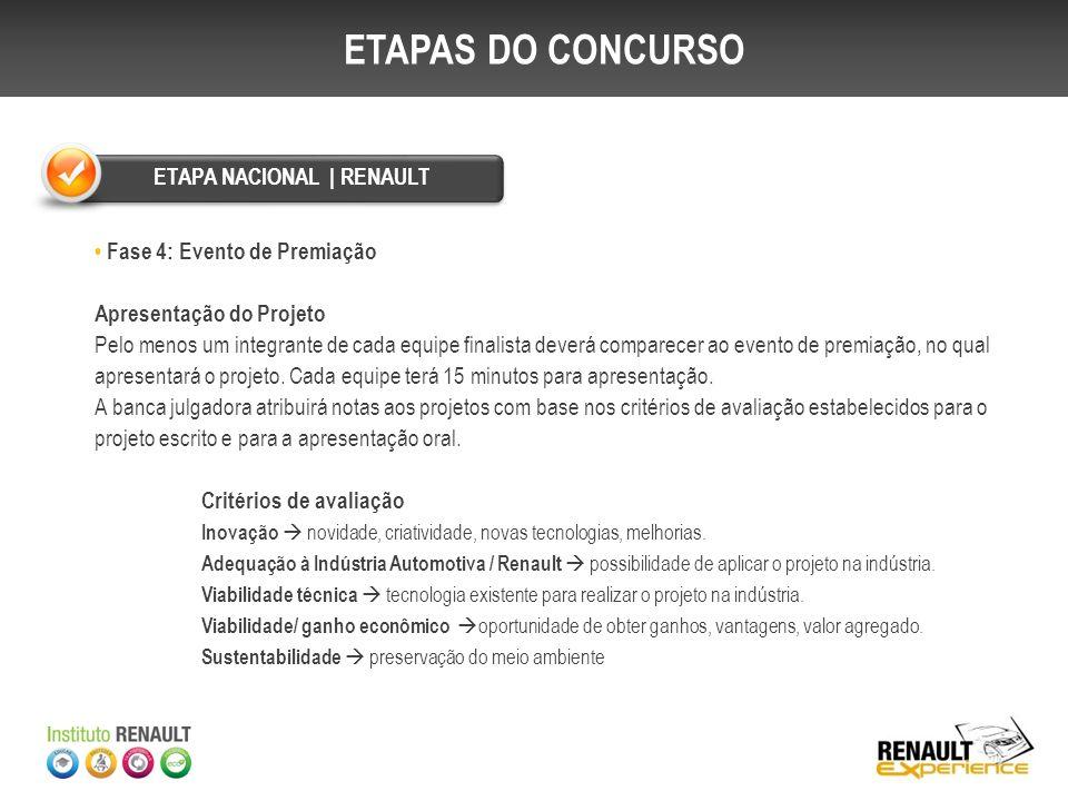 Fase 4: Evento de Premiação A premiação acontecerá em evento conjunto ao encerramento do Renault Experience (Duster 360°).