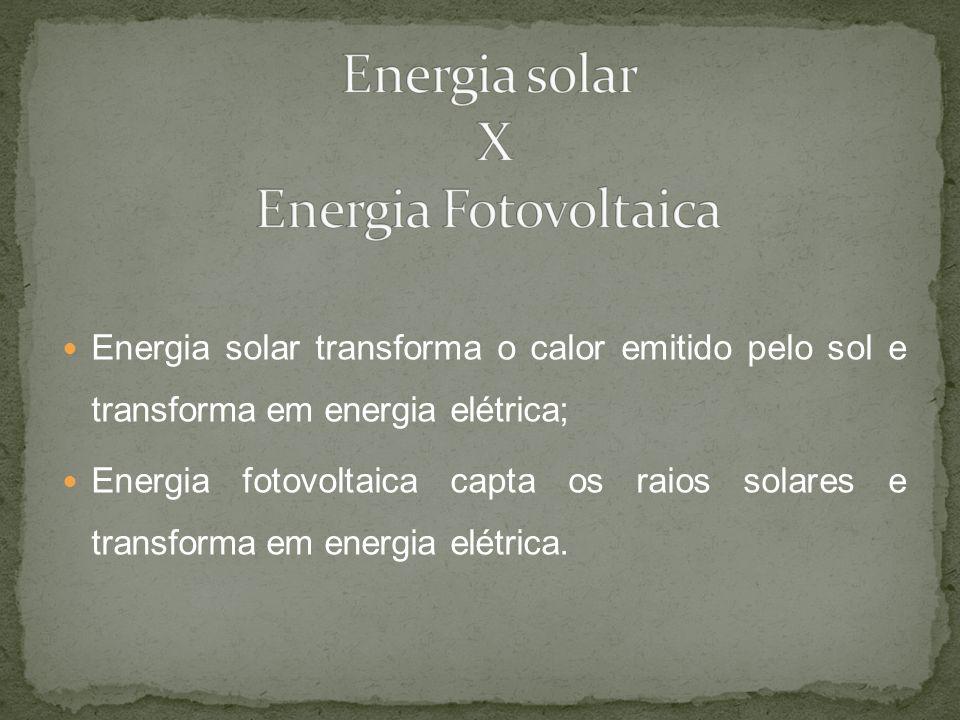 Energia solar transforma o calor emitido pelo sol e transforma em energia elétrica; Energia fotovoltaica capta os raios solares e transforma em energi