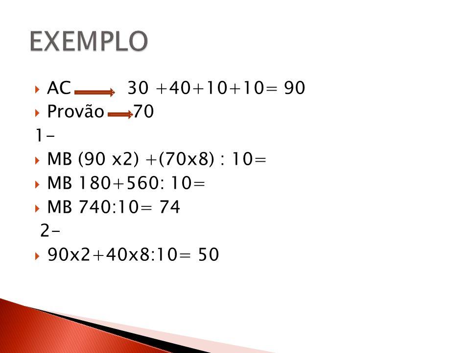 AC 30 +40+10+10= 90 Provão 70 1- MB (90 x2) +(70x8) : 10= MB 180+560: 10= MB 740:10= 74 2- 90x2+40x8:10= 50