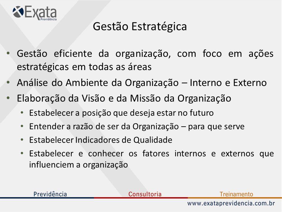 Gestão Estratégica Gestão eficiente da organização, com foco em ações estratégicas em todas as áreas Análise do Ambiente da Organização – Interno e Ex