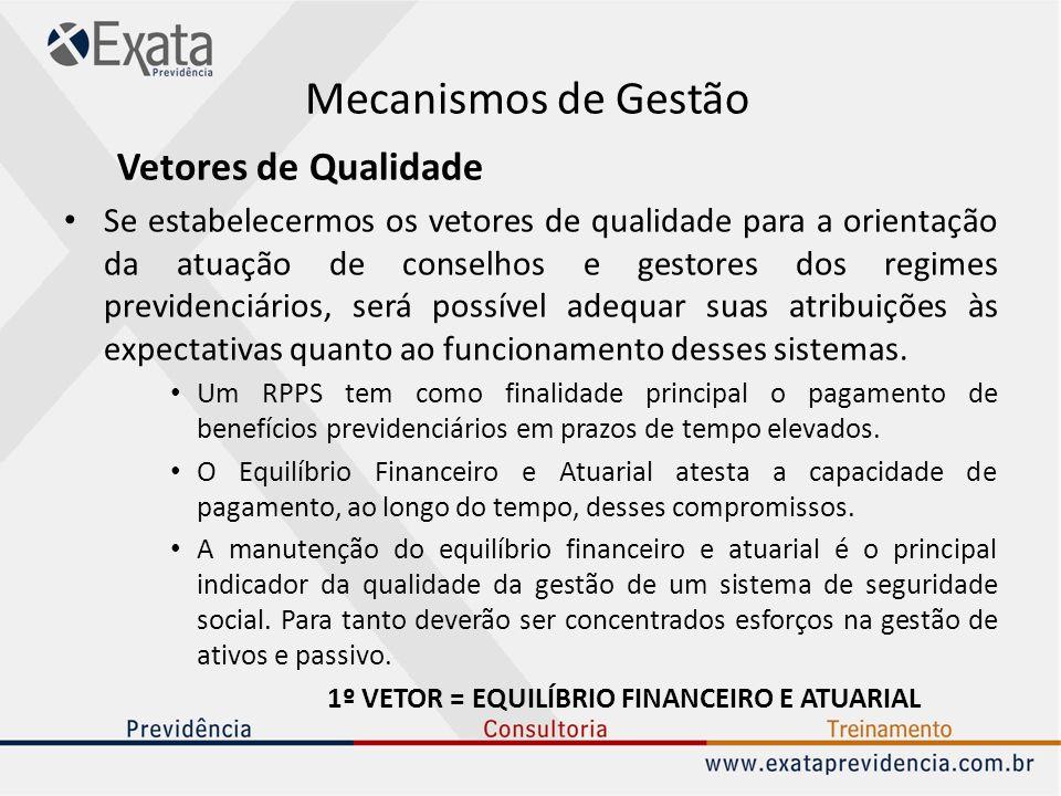 Mecanismos de Gestão Vetores de Qualidade Se estabelecermos os vetores de qualidade para a orientação da atuação de conselhos e gestores dos regimes p