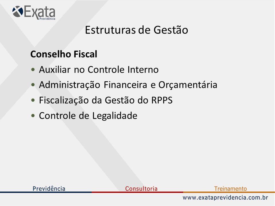Estruturas de Gestão Conselho Fiscal Auxiliar no Controle Interno Administração Financeira e Orçamentária Fiscalização da Gestão do RPPS Controle de L