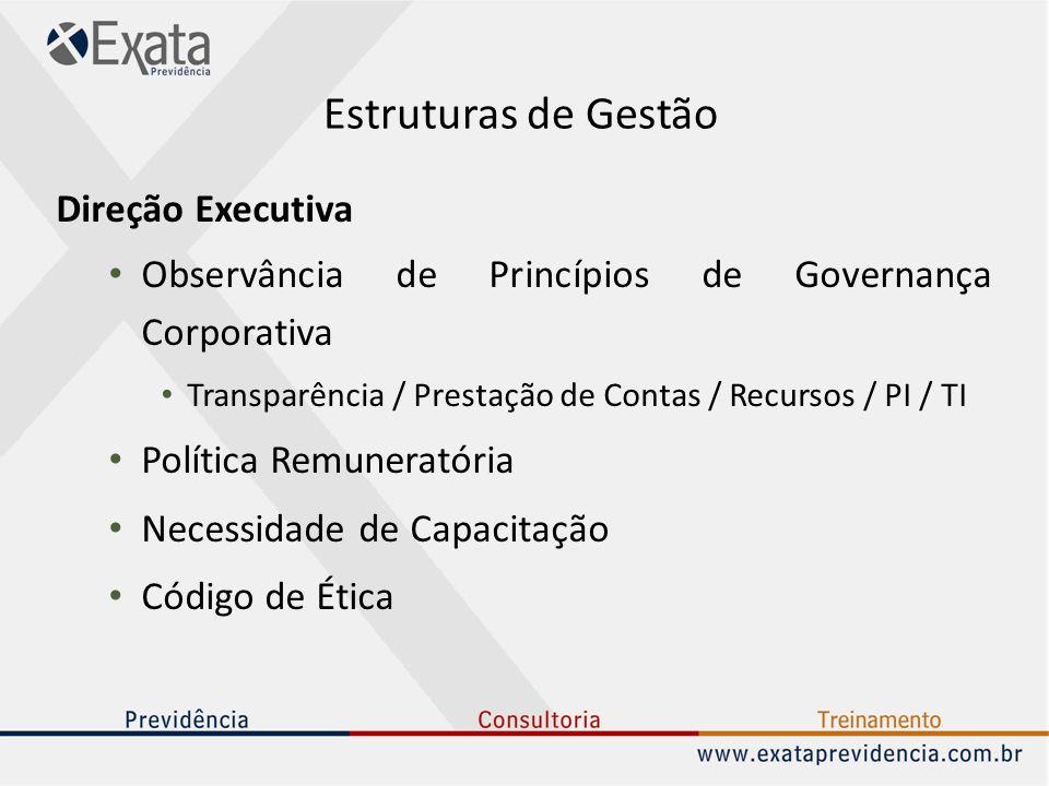 Estruturas de Gestão Direção Executiva Observância de Princípios de Governança Corporativa Transparência / Prestação de Contas / Recursos / PI / TI Po