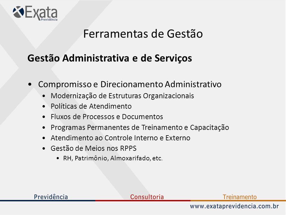Ferramentas de Gestão Gestão Administrativa e de Serviços Compromisso e Direcionamento Administrativo Modernização de Estruturas Organizacionais Polít