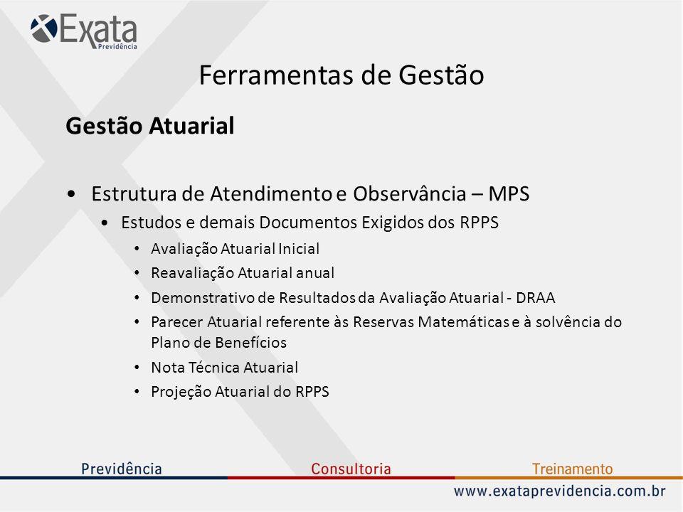 Ferramentas de Gestão Gestão Atuarial Estrutura de Atendimento e Observância – MPS Estudos e demais Documentos Exigidos dos RPPS Avaliação Atuarial In