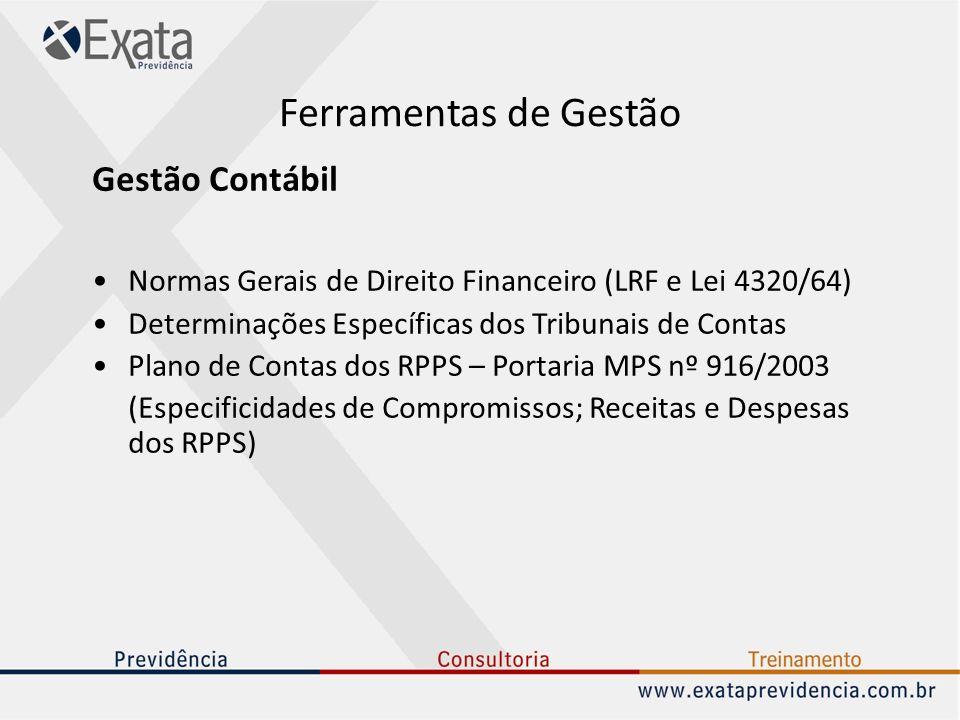 Ferramentas de Gestão Gestão Contábil Normas Gerais de Direito Financeiro (LRF e Lei 4320/64) Determinações Específicas dos Tribunais de Contas Plano