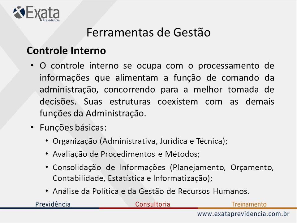 Ferramentas de Gestão Controle Interno O controle interno se ocupa com o processamento de informações que alimentam a função de comando da administraç