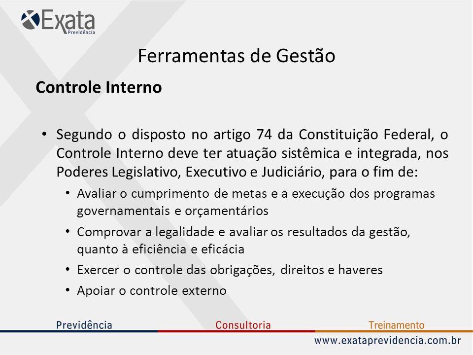 Ferramentas de Gestão Controle Interno Segundo o disposto no artigo 74 da Constituição Federal, o Controle Interno deve ter atuação sistêmica e integr