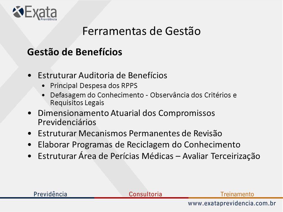 Ferramentas de Gestão Gestão de Benefícios Estruturar Auditoria de Benefícios Principal Despesa dos RPPS Defasagem do Conhecimento - Observância dos C