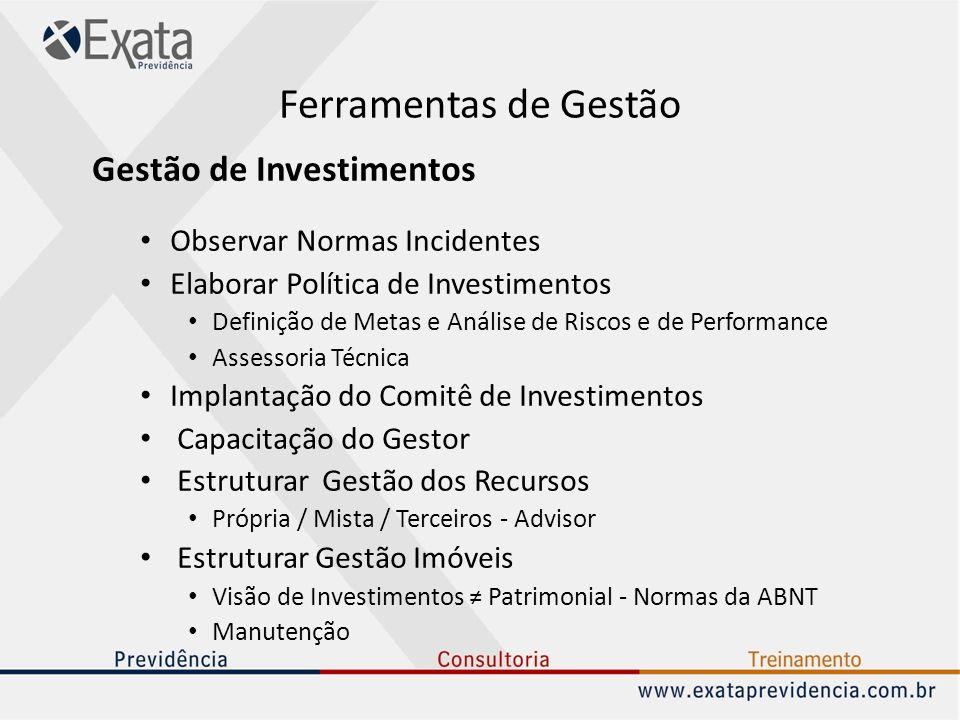 Ferramentas de Gestão Gestão de Investimentos Observar Normas Incidentes Elaborar Política de Investimentos Definição de Metas e Análise de Riscos e d