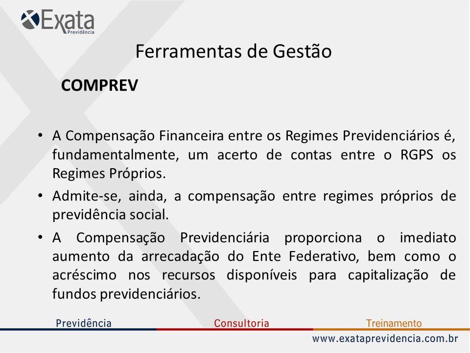 Ferramentas de Gestão COMPREV A Compensação Financeira entre os Regimes Previdenciários é, fundamentalmente, um acerto de contas entre o RGPS os Regim