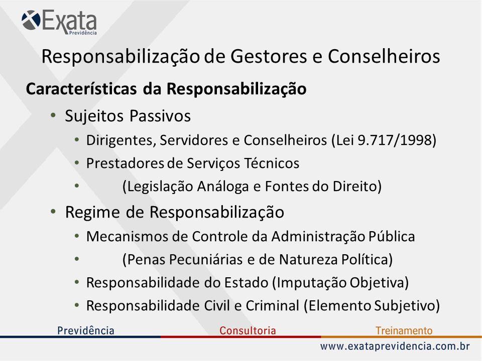 Responsabilização de Gestores e Conselheiros Características da Responsabilização Sujeitos Passivos Dirigentes, Servidores e Conselheiros (Lei 9.717/1