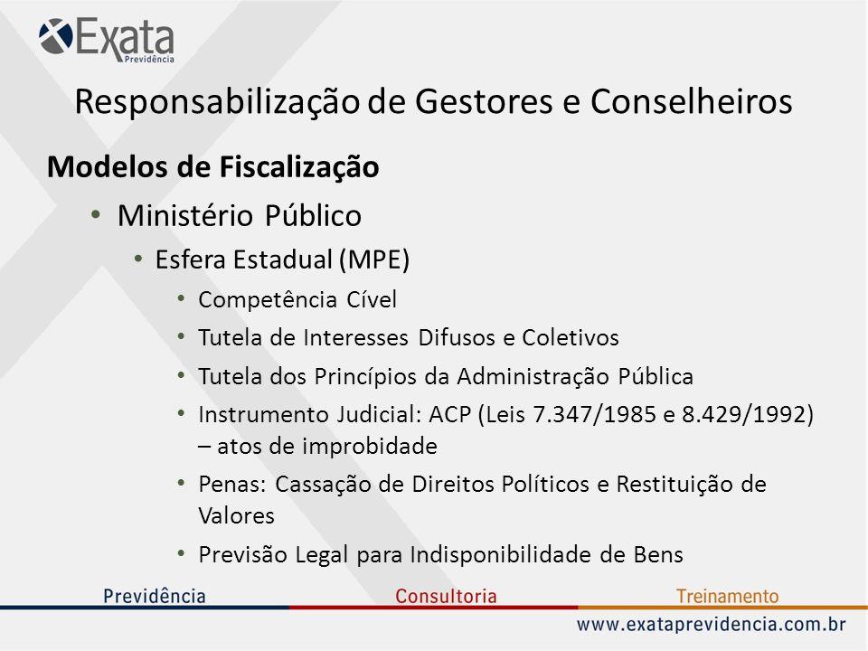 Responsabilização de Gestores e Conselheiros Modelos de Fiscalização Ministério Público Esfera Estadual (MPE) Competência Cível Tutela de Interesses D