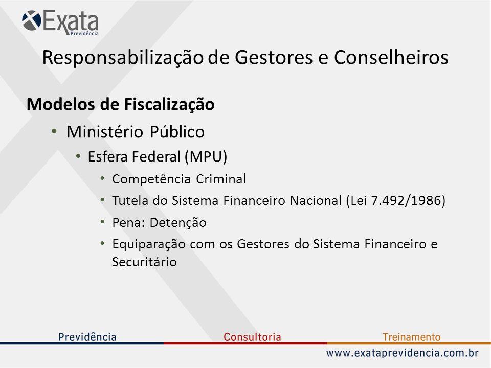 Responsabilização de Gestores e Conselheiros Modelos de Fiscalização Ministério Público Esfera Federal (MPU) Competência Criminal Tutela do Sistema Fi
