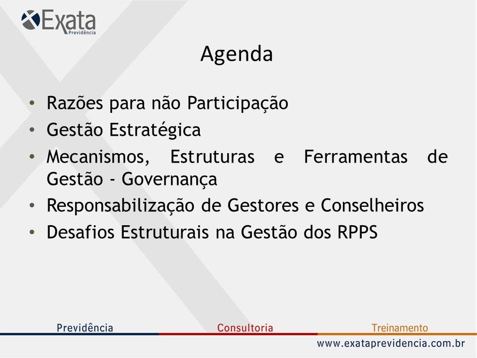 Agenda Razões para não Participação Gestão Estratégica Mecanismos, Estruturas e Ferramentas de Gestão - Governança Responsabilização de Gestores e Con