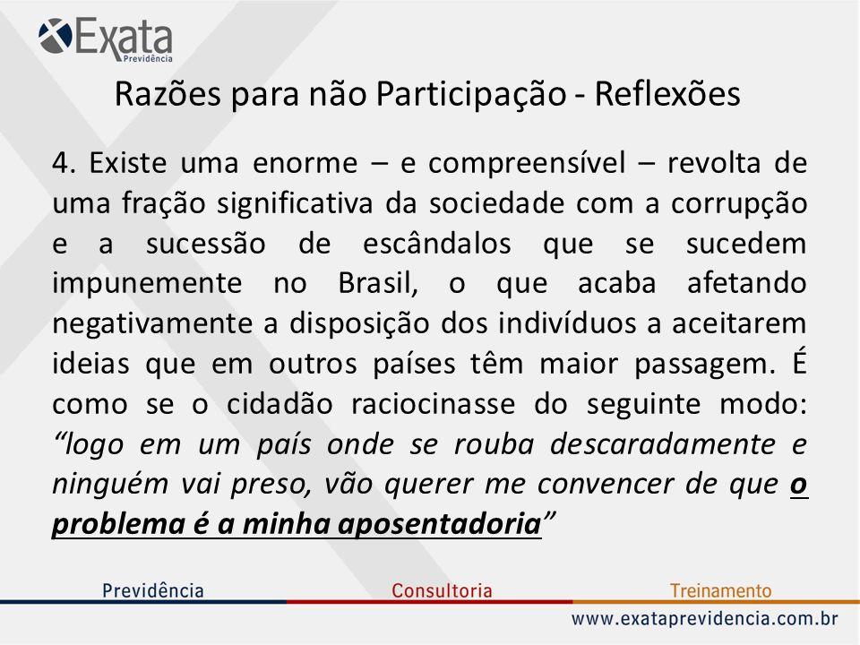 Razões para não Participação - Reflexões 4. Existe uma enorme – e compreensível – revolta de uma fração significativa da sociedade com a corrupção e a