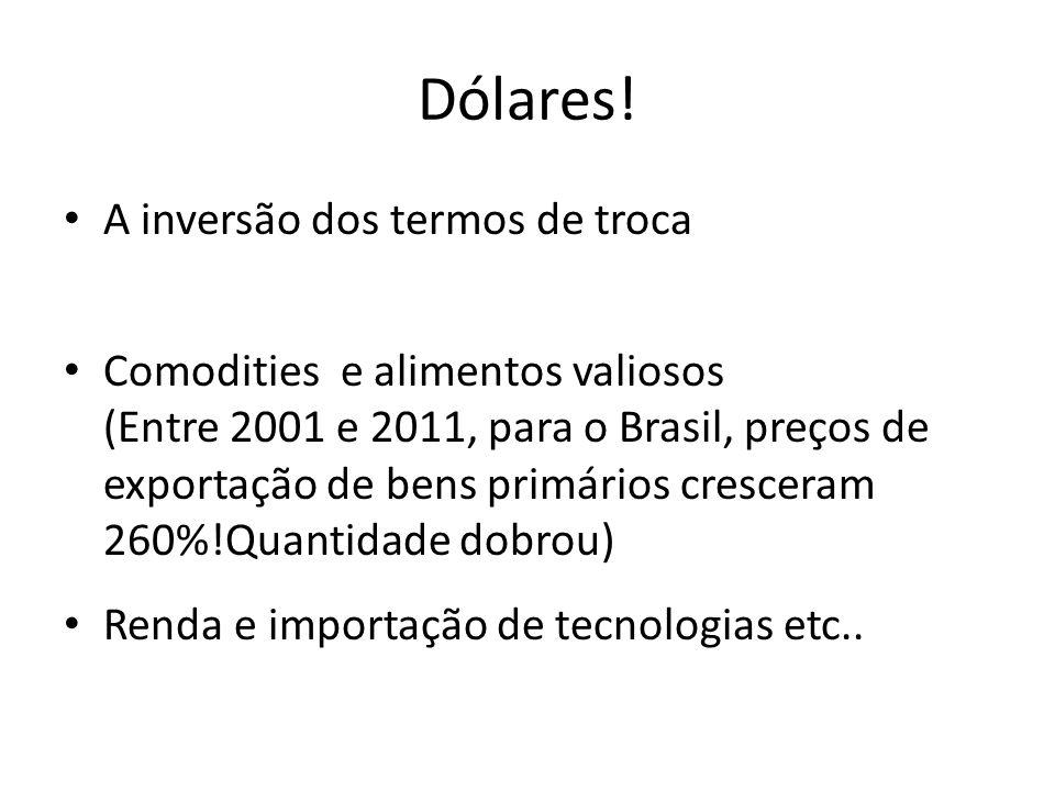 Dólares! A inversão dos termos de troca Comodities e alimentos valiosos (Entre 2001 e 2011, para o Brasil, preços de exportação de bens primários cres