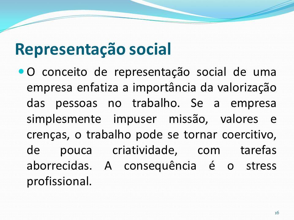 Representação social O conceito de representação social de uma empresa enfatiza a importância da valorização das pessoas no trabalho. Se a empresa sim