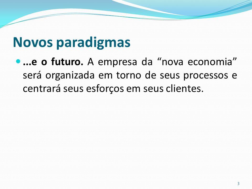 Novos paradigmas...e o futuro. A empresa da nova economia será organizada em torno de seus processos e centrará seus esforços em seus clientes. 3