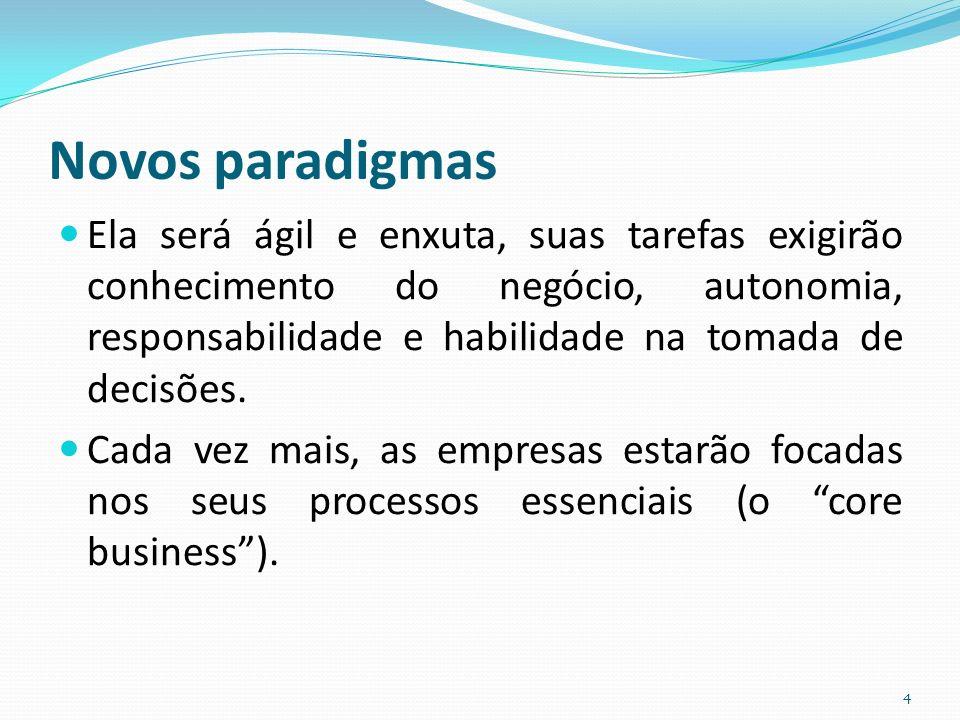 Novos paradigmas Ela será ágil e enxuta, suas tarefas exigirão conhecimento do negócio, autonomia, responsabilidade e habilidade na tomada de decisões