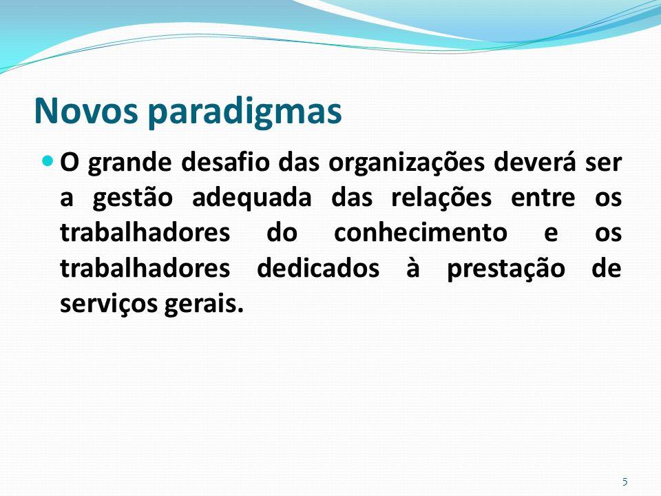 Novos paradigmas O grande desafio das organizações deverá ser a gestão adequada das relações entre os trabalhadores do conhecimento e os trabalhadores