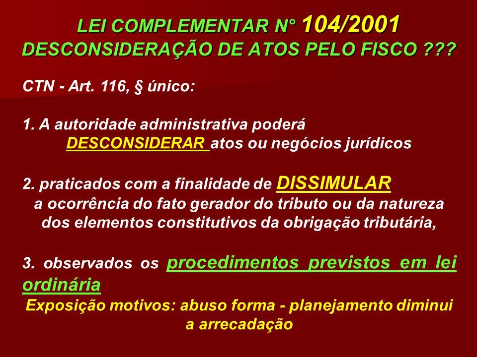 LEI COMPLEMENTAR N° 104/2001 DESCONSIDERAÇÃO DE ATOS PELO FISCO ??? CTN - Art. 116, § único: 1. A autoridade administrativa poderá DESCONSIDERAR atos