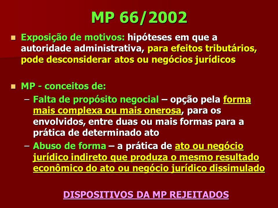 MP 66/2002 Exposição de motivos: hipóteses em que a autoridade administrativa, para efeitos tributários, pode desconsiderar atos ou negócios jurídicos