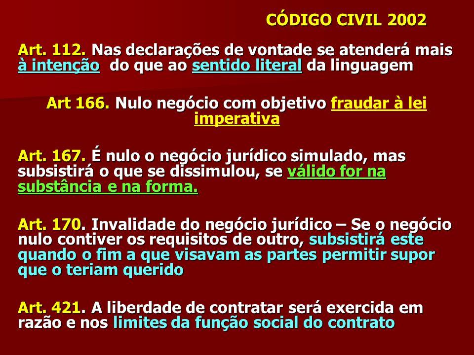 Art. 112. Nas declarações de vontade se atenderá mais à intenção do que ao sentido literal da linguagem Art 166. Nulo negócio com objetivo Art 166. Nu