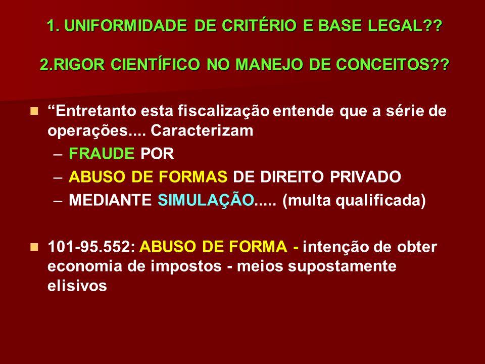 1. UNIFORMIDADE DE CRITÉRIO E BASE LEGAL?? 2.RIGOR CIENTÍFICO NO MANEJO DE CONCEITOS?? Entretanto esta fiscalização entende que a série de operações..