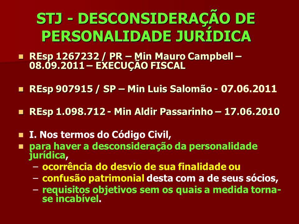 STJ - DESCONSIDERAÇÃO DE PERSONALIDADE JURÍDICA REsp 1267232 / PR – Min Mauro Campbell – 08.09.2011 – EXECUÇÃO FISCAL REsp 1267232 / PR – Min Mauro Ca