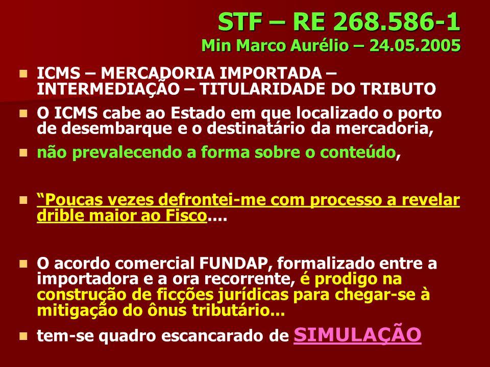 STF – RE 268.586-1 Min Marco Aurélio – 24.05.2005 ICMS – MERCADORIA IMPORTADA – INTERMEDIAÇÃO – TITULARIDADE DO TRIBUTO O ICMS cabe ao Estado em que l