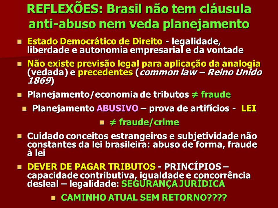 REFLEXÕES: Brasil não tem cláusula anti-abuso nem veda planejamento Estado Democrático de Direito - legalidade, liberdade e autonomia empresarial e da