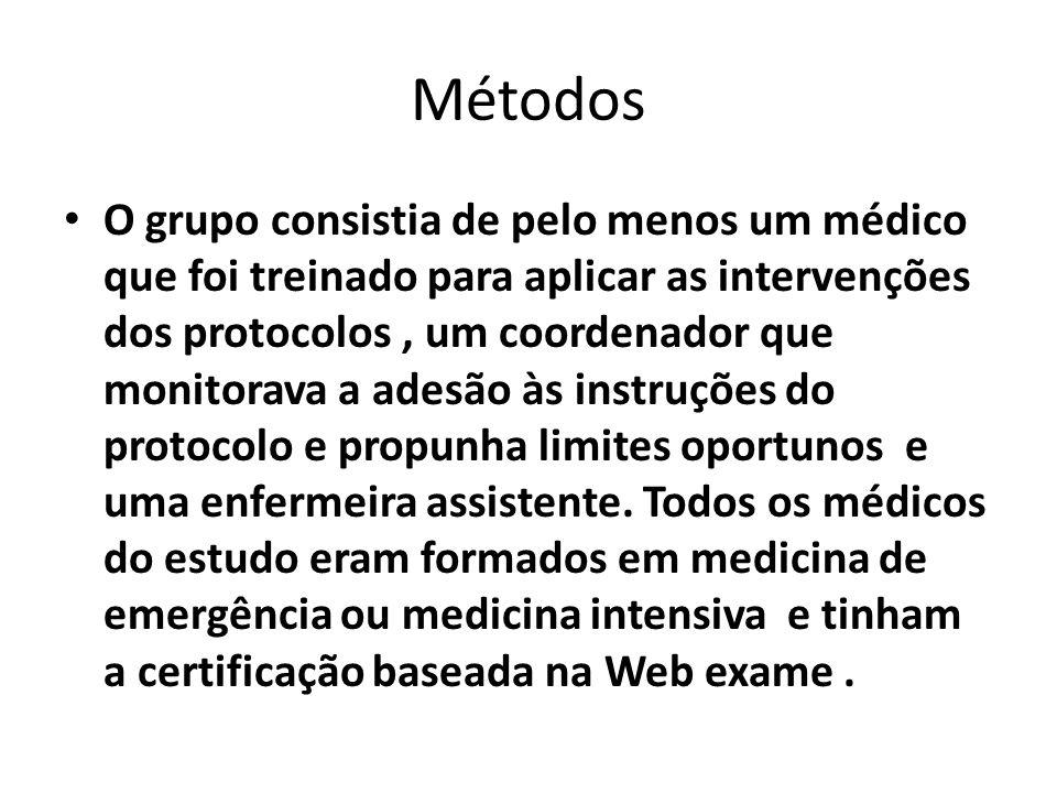 Métodos O grupo consistia de pelo menos um médico que foi treinado para aplicar as intervenções dos protocolos, um coordenador que monitorava a adesão