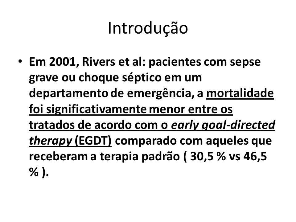 Introdução Em 2001, Rivers et al: pacientes com sepse grave ou choque séptico em um departamento de emergência, a mortalidade foi significativamente m