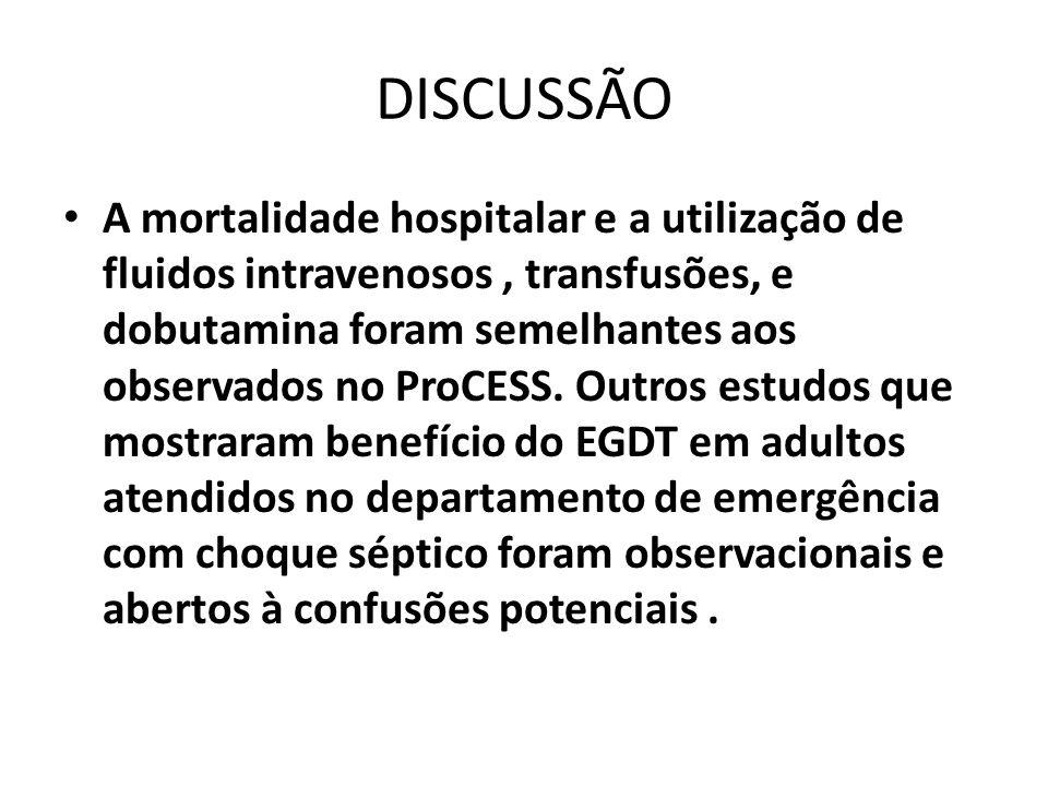 DISCUSSÃO A mortalidade hospitalar e a utilização de fluidos intravenosos, transfusões, e dobutamina foram semelhantes aos observados no ProCESS. Outr