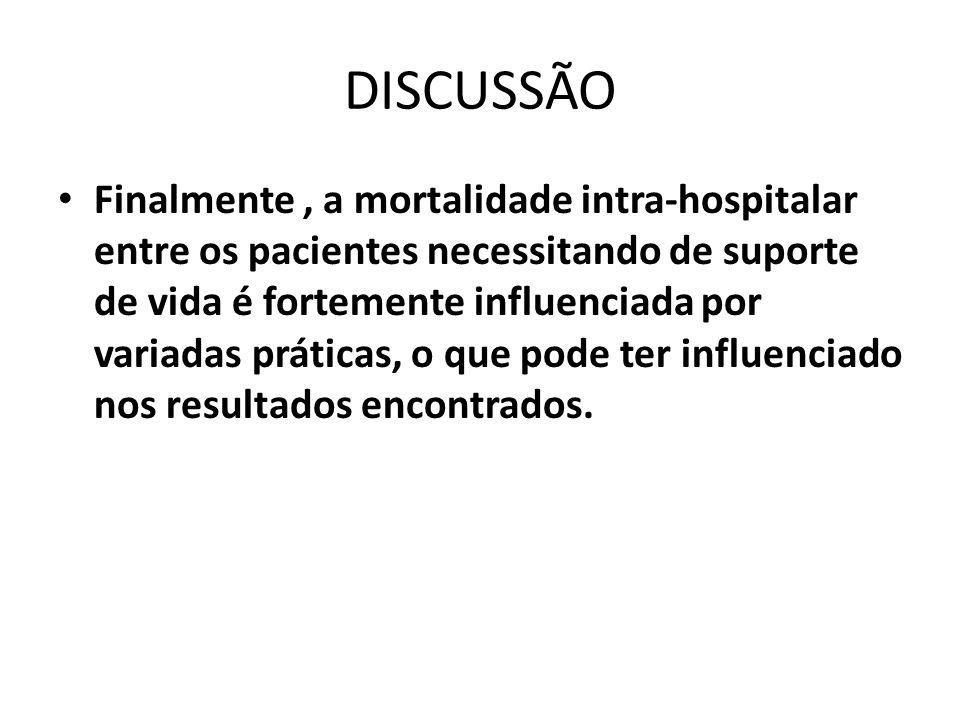 DISCUSSÃO Finalmente, a mortalidade intra-hospitalar entre os pacientes necessitando de suporte de vida é fortemente influenciada por variadas prática