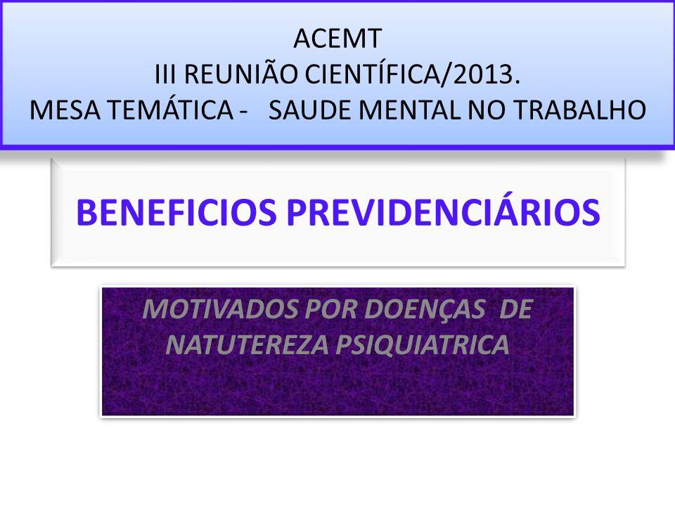 BENEFICIOS PREVIDENCIÁRIOS MOTIVADOS POR DOENÇAS DE NATUTEREZA PSIQUIATRICA ACEMT III REUNIÃO CIENTÍFICA/2013. MESA TEMÁTICA - SAUDE MENTAL NO TRABALH
