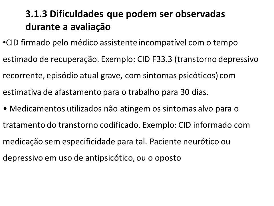 CID firmado pelo médico assistente incompatível com o tempo estimado de recuperação. Exemplo: CID F33.3 (transtorno depressivo recorrente, episódio at