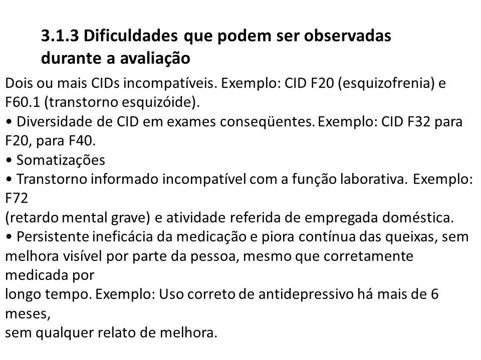 Dois ou mais CIDs incompatíveis. Exemplo: CID F20 (esquizofrenia) e F60.1 (transtorno esquizóide). Diversidade de CID em exames conseqüentes. Exemplo: