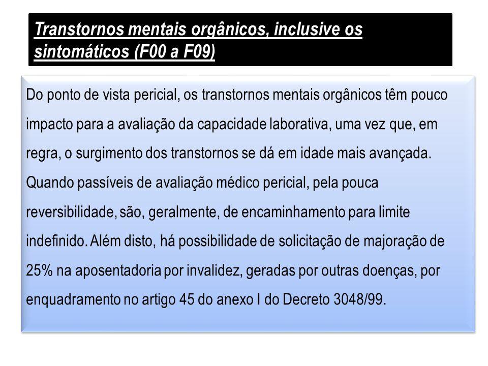Transtornos mentais orgânicos, inclusive os sintomáticos (F00 a F09) Do ponto de vista pericial, os transtornos mentais orgânicos têm pouco impacto pa