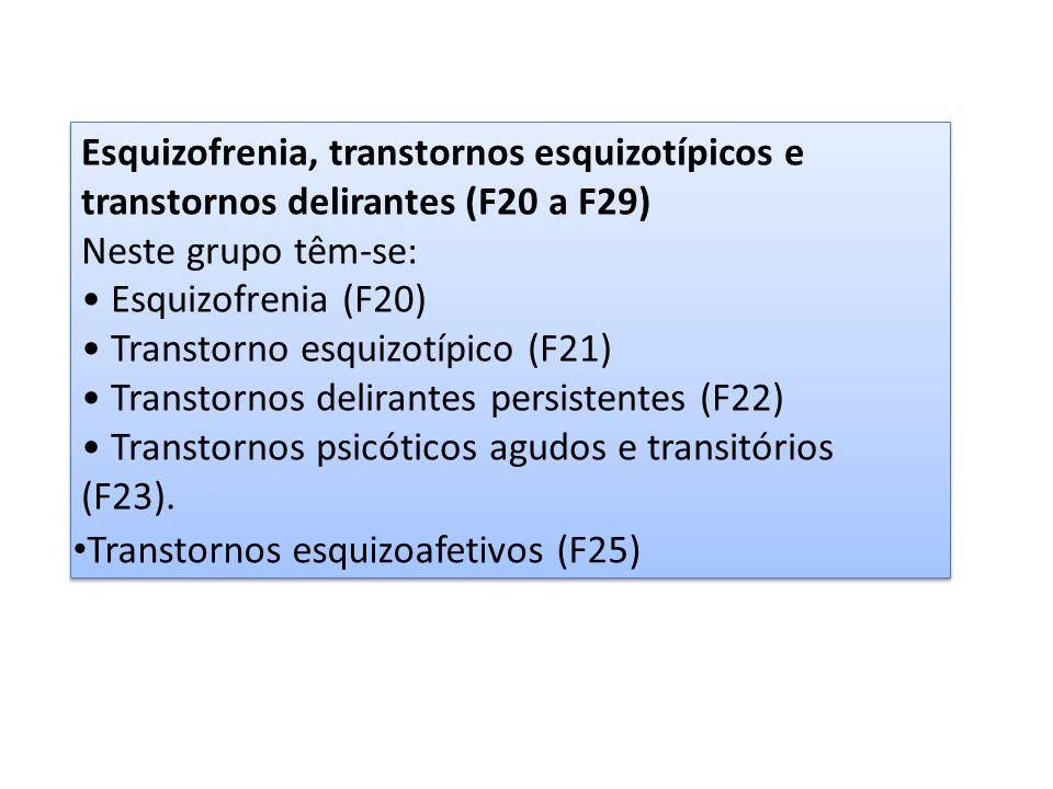 Esquizofrenia, transtornos esquizotípicos e transtornos delirantes (F20 a F29) Neste grupo têm-se: Esquizofrenia (F20) Transtorno esquizotípico (F21)
