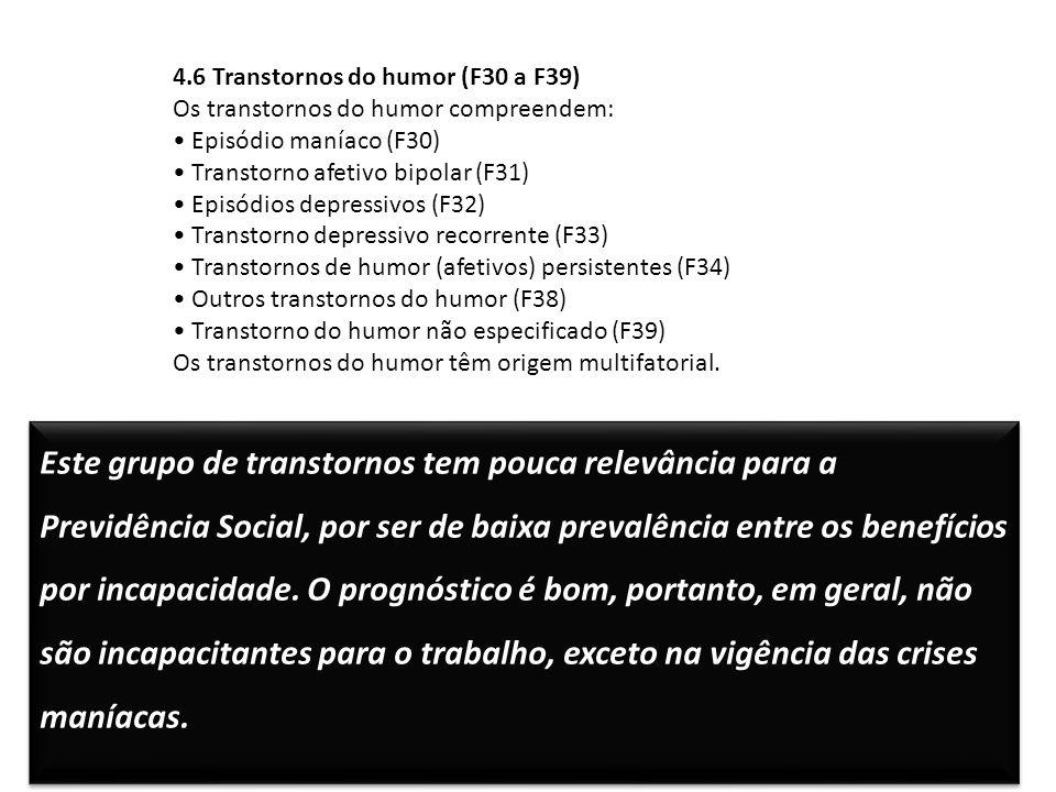 4.6 Transtornos do humor (F30 a F39) Os transtornos do humor compreendem: Episódio maníaco (F30) Transtorno afetivo bipolar (F31) Episódios depressivo