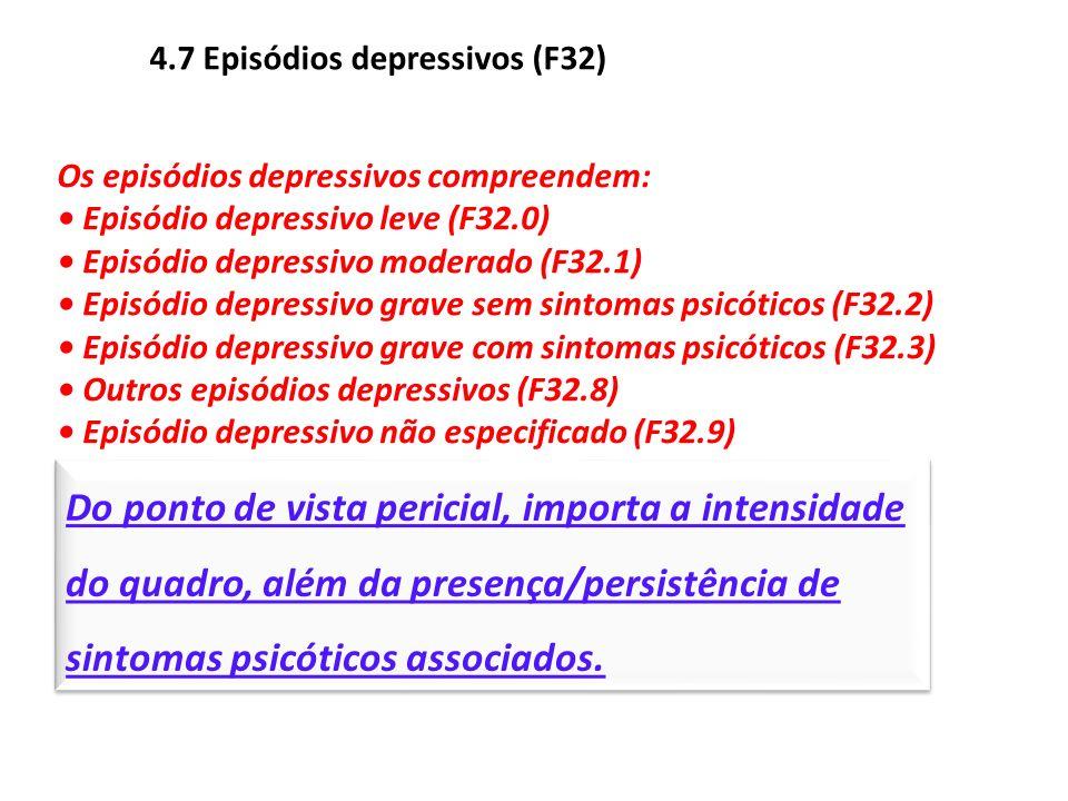 4.7 Episódios depressivos (F32) Os episódios depressivos compreendem: Episódio depressivo leve (F32.0) Episódio depressivo moderado (F32.1) Episódio d