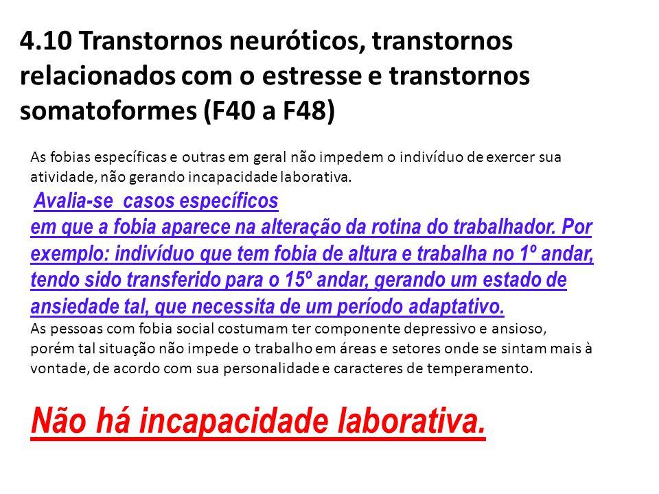 4.10 Transtornos neuróticos, transtornos relacionados com o estresse e transtornos somatoformes (F40 a F48) As fobias específicas e outras em geral nã